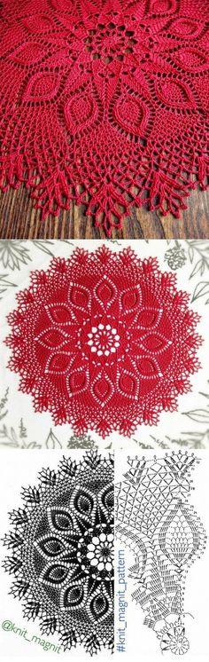 Oval crochet doily pineapple crochet doily oval by kroshetmania Crochet Doily Diagram, Crochet Doily Patterns, Crochet Chart, Thread Crochet, Filet Crochet, Crochet Motif, Crochet Designs, Rug Patterns, Crochet Table Topper
