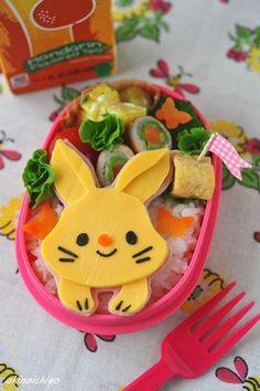 Adorable ham & cheese bunny bento box
