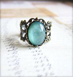 Mint Floral Ring Mint Rose Ring Mint Green Rose Ring Antique Filigree Ring - L'Amour - Antique Brass Filigree. $7.00, via Etsy.