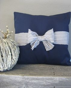The Nichole  18 x 18 Navy Blue and White Ticking by cottageruffles, $25.00- love the navy blue- possibly with orange