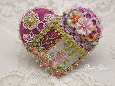 Victorian looking crazy quilt  beaded pin / brooch by GlosterQueen on Etsy