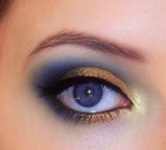 Gold and blue smokey eye for blue eyes. For green eyes, maybe use brown or plum instead of blue?