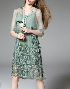 Summer Floral Green Silk Midi Dress with Embroidered