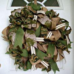 Camo Wreath Burlap Wreath Hunting Wreath Camouflage by MeMaandCo
