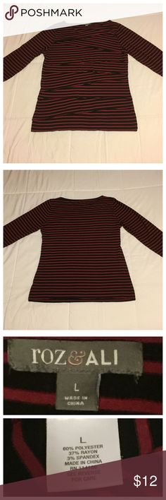 "Roz & Ali Red and Black Striped Top Cute long sleeve, striped shirt with tiered layers on the front for a flirty look. Great with jeans for a casual look. Measures shoulder to hem 26"", armpit to armpit 19 1/2"", and sleeve length is 17 1/2"" Roz & Ali Tops Tees - Long Sleeve"