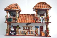 balcones antioqueños miñiatura - Buscar con Google Clay Houses, Miniature Houses, Dollhouse Kits, Dollhouse Miniatures, Spanish House, Fairy Houses, Little Houses, Clay Art, Diy And Crafts