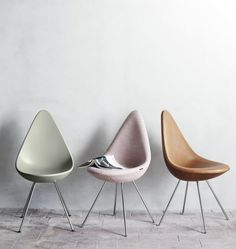 Drop Chair by Arne Jacobsen in pale olive green, smokey pastel pink and tan leather - my perfect colour palette.