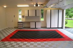 Create your own parking pad using garage floor tiles! Very cool garage idea