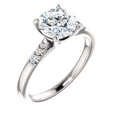 LUCY style 123001 Interlaced Prong Engagement Ring With Graduated Diamond Accents  #everandeverbridal