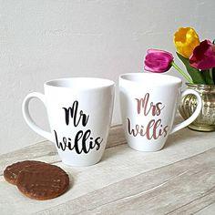 Mr and mrs mugs wedding mugs wedding cups wedding gift Personalized Mugs, Personalized Wedding Gifts, Handmade Wedding, Handmade Shop, Handmade Gifts, Wedding Dance Songs, Wedding Mugs, Latte Mugs, Engagement Gifts