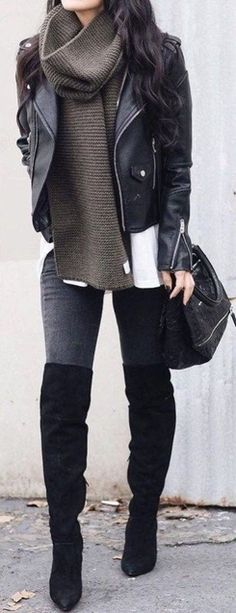 Edgy grunge winter outfits ideas for teen girls for college for school - leather jacket turtle neck sweater - thigh high boots - www. Grunge Winter Outfits, Fall Winter Outfits, Autumn Winter Fashion, Casual Outfits, Cute Outfits, Autumn Casual, Winter Clothes, Summer Clothes, Winter Wear