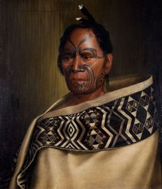 """Kawhena"""", the first Maori portrait painted by a young 22 year old C. Goldie in Hone Kawhena (born also known as Johnny Coffin was a police constable in old Auckland town. Maori Face Tattoo, Ta Moko Tattoo, Maori Tattoos, Face Tattoos, Polynesian People, Polynesian Art, Maori People, Tribal People, Maori Words"""