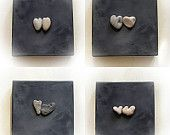 SALE - Unique wedding gift -LOVE IS... -  genuine Heart shaped Beach stone rock