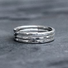 Sterling Silver Stacking Rings Stack of Three by KiraFerrer