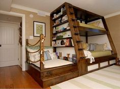 Cool bunk bed idea with attached reading nook!