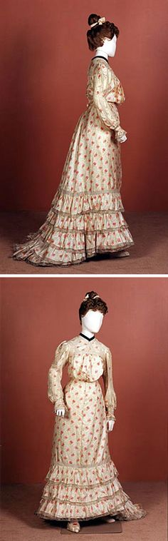 Day dress, Charles Jenner & Co., Edinburgh, 1902. Three pieces: bodice, gored skirt, sash. Cream-colored, twill-woven silk, printed with sprays of roses & leaves. Trimmed with frills of white cotton machine lace. Neckband is black velvet. National Museums Scotland