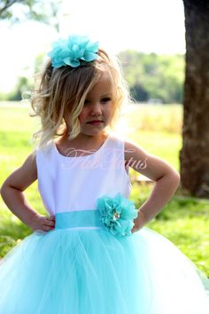 Couture Tiffany Blue flower girl / special occasion tutu dress by FabTutus. $105.50, via Etsy.