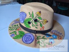 Hats, Women, Totes, Pintura, Flowers, Manualidades, Style, Hat, Hipster Hat