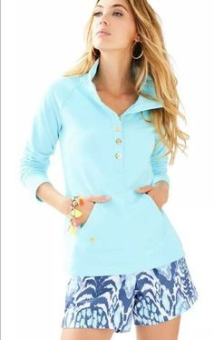 056995b7b6a8e NWT Lilly Pulitzer Captain Popover XS Serene Blue Top  LillyPulitzer   Popover Casual Summer Outfits