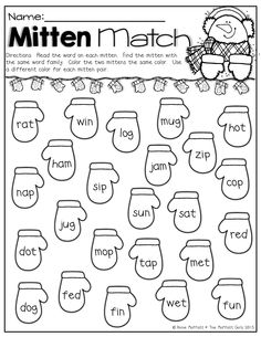 mitten match color the pair of mittens that have the same word family the math literacykindergarten worksheetsliteracy activitiesliteracy - Activity Sheets For Kindergarten