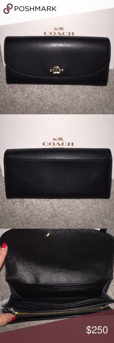 ❗️MAKE OFFER❗️COACH CRSGR Black Leather Wallet NWT COACH CRSGR Black Leather Wallet NWT.  NO TRADES. Coach Bags Wallets
