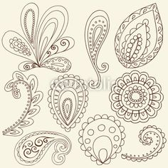 Henna Flower Paisley Doodles Vector Design Elements                                                                                                                                                      Plus