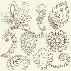 Henna Flower Paisley Doodles Vector Design Elements                                                                                                                                                      Plus