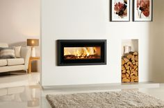 Stovax Riva Studio 2 Duplex* woodburning fire with a Profil Frame. £2500. W1020xd414xh550. Flue 153cm. 75% efficiency. Approx 8kw.