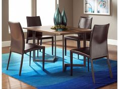 "Conal 48""  Dining Table with Glide Chairs, modern dining room, blue accent rug"