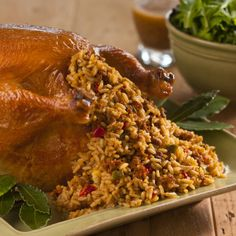 Chicken Stuffed with Creole Dirty Rice Dressing