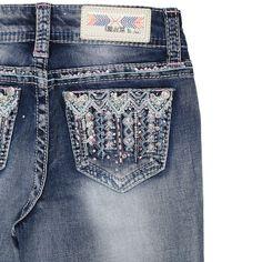 Grace In La Girl's Aztec Embroidered Rhinestone Boot Cut Jeans GB-5966