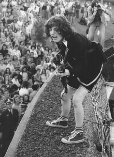 Angus Young | AC DC | Rock n Roll | Black & white | perform | on stage | music | loud | awesome | legend