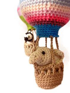 baby mobile hot air balloon nursery crochet by Crochetonatree