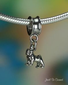 Miniature Pug Charm for European Style Bead Bracelet Sterling Silver