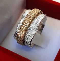 Silver And Gold Spinner Ring ,Silver And Gold Wedding BandValentine gift Diy Jewelry Rings, Silver Jewelry, Schmuck Design, Love Ring, Wedding Ring Bands, Beautiful Rings, Gold Rings, Rings For Men, Jewelry Design