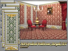 MB-OpulentWallwear_RoyalSET, elegant and luxury looking wallpapers with golden elements and partly with wooden cutouts, comes in 3 classic colors and 3 wall-hights, 2 matching wallpapers making the...