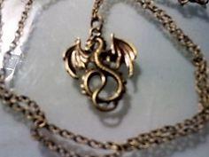 ❥ Bronze Tone Dragon Necklace ❥