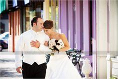 Michigan wedding photography... bride and groom for a stroll downtown