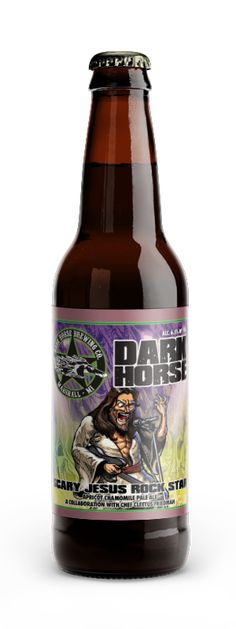 """Scary Jesus Rock Star """"Aromas of chamomile touch your nose as they lead into the soft body and mouthfeel of this liquid symphony. Just as your mind is clear and your sins are washed away, a tasty riff of sweet and earthy fresh apricots hit your palate and rock your tastebuds finishing dry and hoppy."""" Dark Horse Brewing Co., Marshall MI (12oz 6.5%) Jan 2018"""