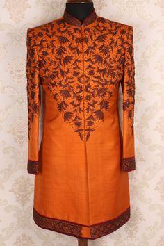 #Orange pure #rawsilk mesmeric #sherwani with kundan & #threadwork -IW354