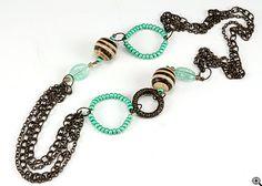 Jewelry Making Idea: Mint Chocolate Treat Necklace (eebeads.com)