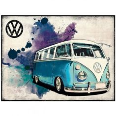 VW Metal Wall Sign, Grunge Bus, Light Blue