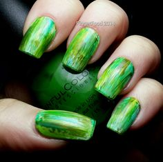 FingerFood: Get Lucky Nail Art Challenge - Shades of Green