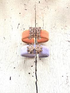 Caramel or Pale Periwinkle Ultrasuede and Rhinestone Adjustable Cuffs