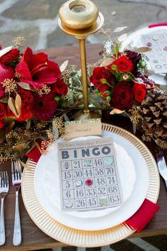The Perfect Palette: Cranberry + Gold Holiday Shoot, next year, add bingo with prizes! Merry Christmas Eve, Christmas Traditions, Christmas Time, Christmas Decor, Wedding Games, Wedding Bingo, Red Wedding, Wedding Colors, Wedding Ideas