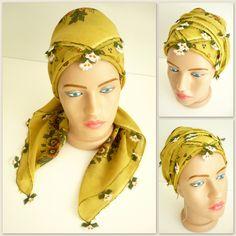 Turkish needle laced antique scarf / Handicraft vintage foulard / cotton, oil yellow, floral printed versatile kerchief / unique gift idea by TurkishHands on Etsy