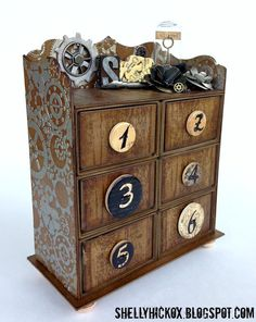 Steampunk Sizzix Candy Drawer Storage Cabinet with StencilGirl by Shelly Hickox