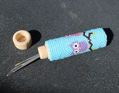 Owl Beaded Needle Case by GAMBITandALICE on Etsy, $23.00 very cute beaded needle holder great mothers day gift
