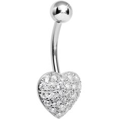 925 Sterling Silver Cubic Zirconia Paved Heart Belly Ring | Body Candy Body Jewelry #bodycandy