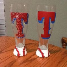 Texas Rangers beer glasses